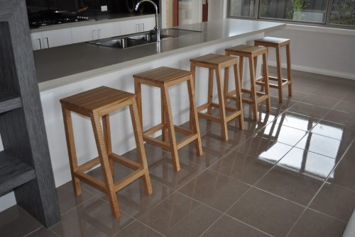 Off Center Timber Bar Stool