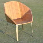 Saucer style patio chair made from Bamboo and brushed stainless steel